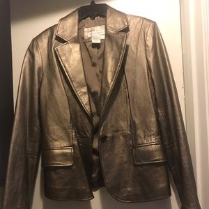 Brushed Gold Leather Jacket